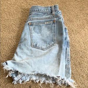 Tye die blue jean shorts; juniors